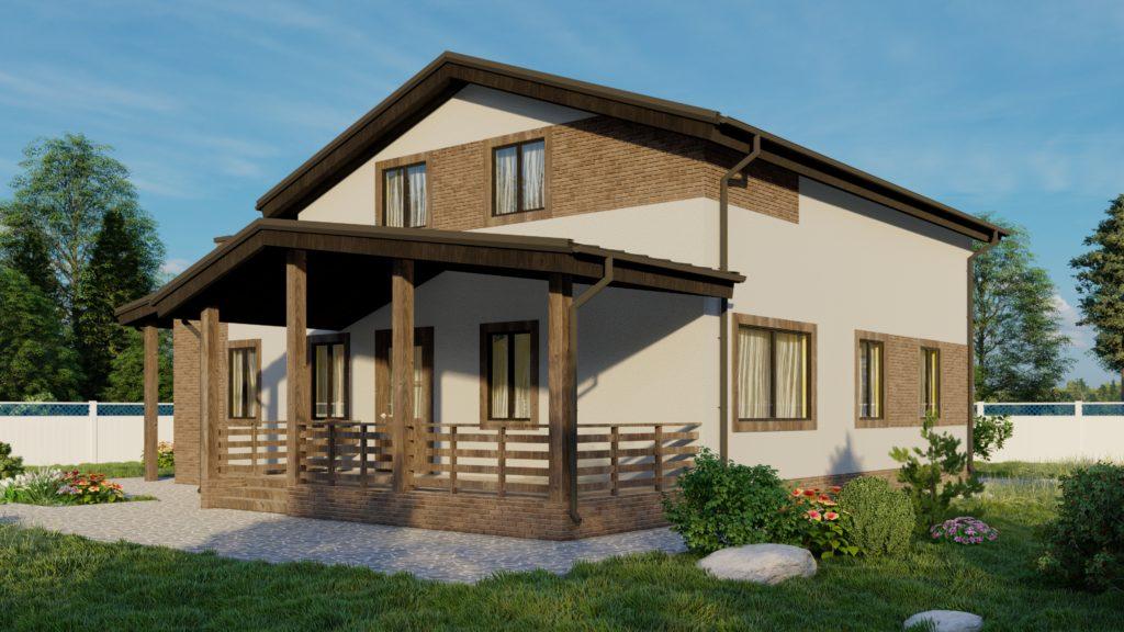 Проект дома с мансардой площадью 199 кв.м.