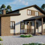Визуализация главного фасада дома с мансардой площадью 199 кв.м.