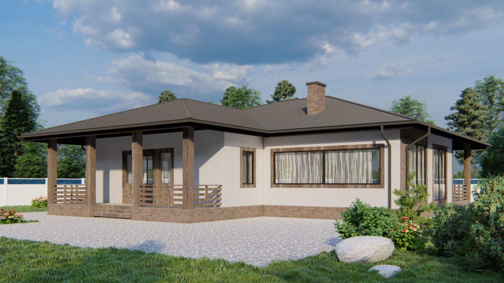 Проект одноэтажного дома - главный фасад GH10T-148
