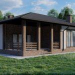 Визуализация дворового фасада одноэтажного дома