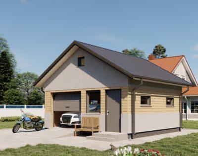 Проект однодверного гаража из газобетона GH10Г-36