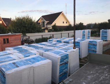 Выгрузка газосиликатного блока на объект для строительства дома д. Чиверево