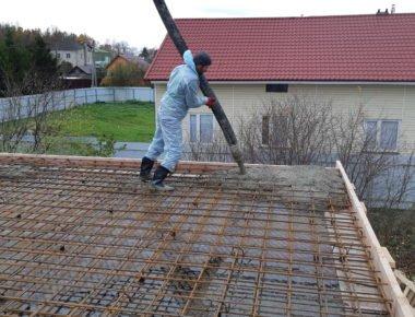 Заливка плиты перекрытия бетоном в Лукошкино