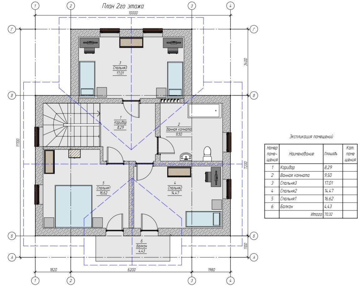 План 2 этажа дома с мансардой