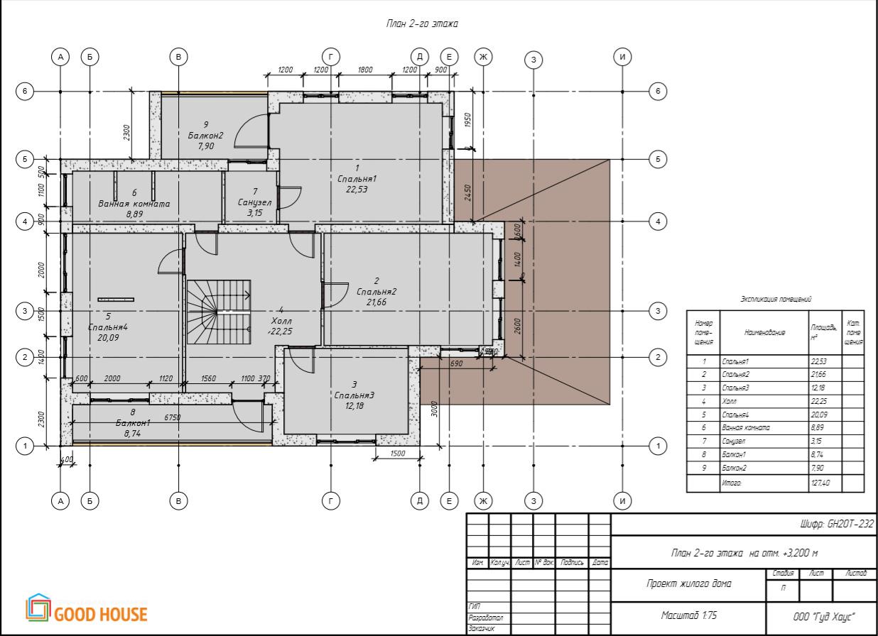 План 2 этажа GH20Т-232